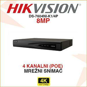 HIKVISION 4K POE 4 KANALNI MREŽNI SNIMAČ DS-7604NI-K1/4P