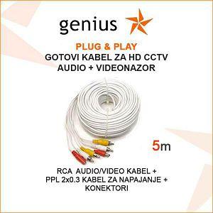 GOTOVI KABEL ZA VIDEONADZOR + AUDIO - 5M