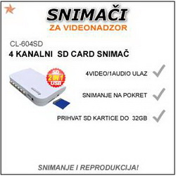 4 KANALNI SD CARD SNIMAČ ZA VIDEO NADZOR