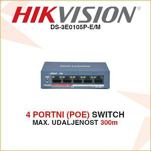 4 PORTNI POE SWITCH DS-3E0105P-E/M