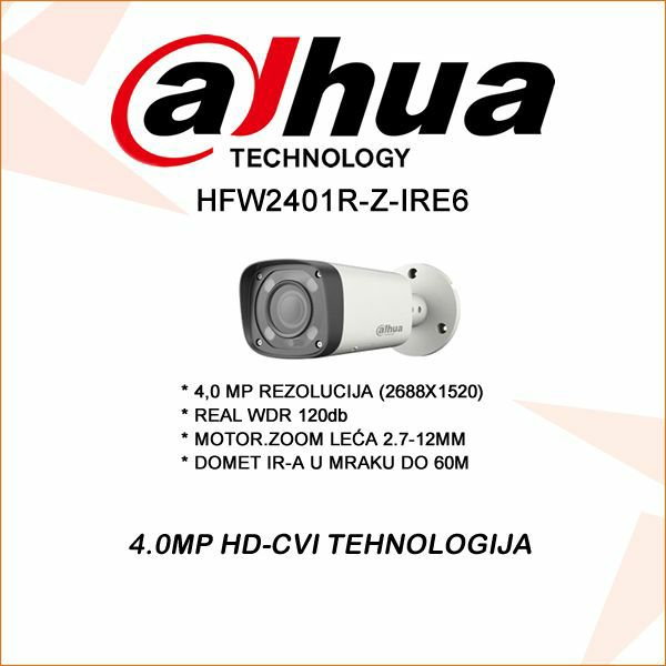 4.0 MP DAHUA CVI KAMERA 2.7-12 MOT.ZOOM REAL WDR 120DB