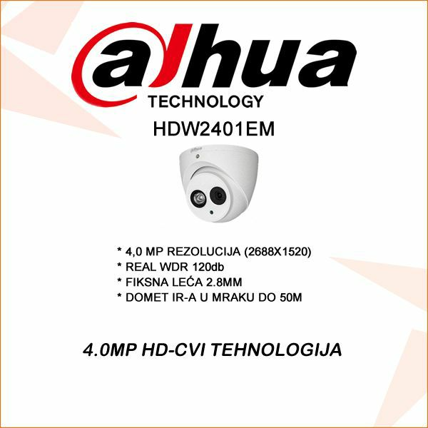 4.0 MP DAHUA CVI KAMERA 2.8MM REAL WDR 120DB