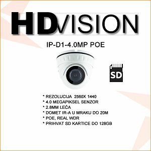 4.0 MP H.265 IP DOME KAMERA 2.8M LEĆA, POE, WDR
