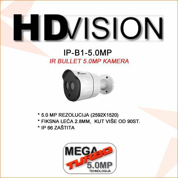 5.0 MP IP FULL HD POE BULLET KAMERA ZA VIDEONAZOR HDVISION