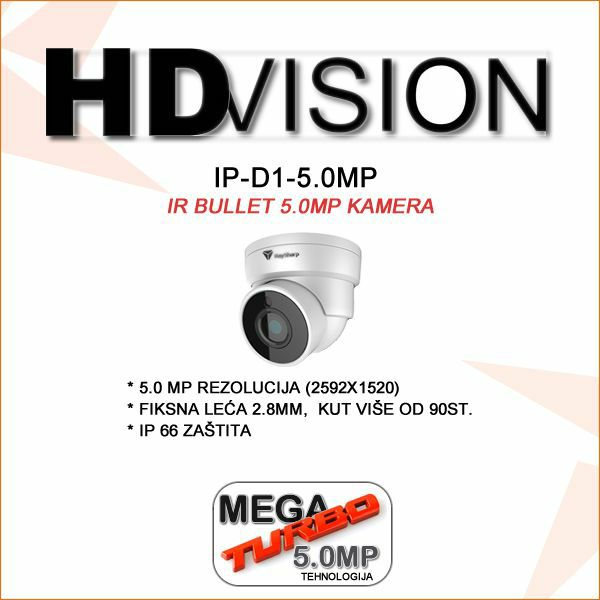 5.0 MP IP FULL HD POE DOME KAMERA ZA VIDEO NADZOR HDVISION