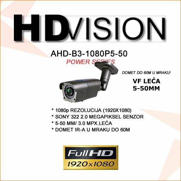 AHD BULLET KAMERA 2.0MP ZA VIDEONADZOR 1080P 5-50MM/60M IR