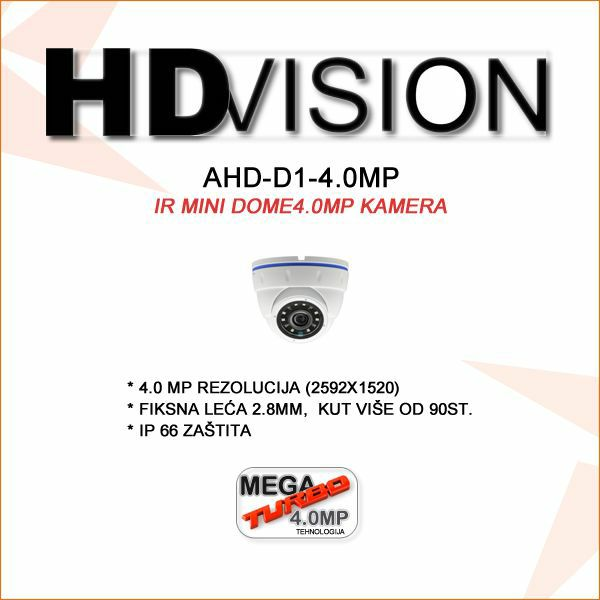 AHD DOME KAMERA 4.0MP ZA VIDEONADZOR 2.8MM