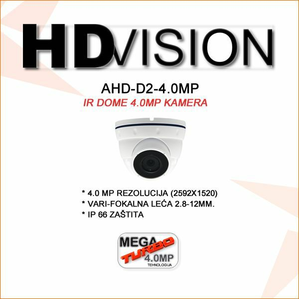 AHD DOME KAMERA 4.0MP ZA VIDEONADZOR 2.8-12MM
