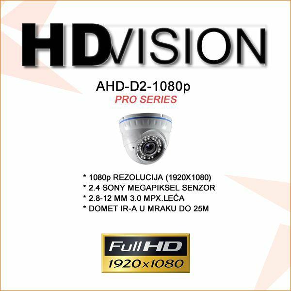 AHD DOME KAMERA ZA VIDEONADZOR SONY IMX322 1080P 2.8-12MM/25M IR
