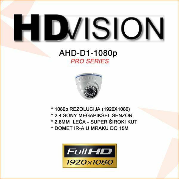 AHD MINI DOME KAMERA ZA VIDEONADZOR SONY IMX322 1080P 2.8MM-ŠIROKI KUT