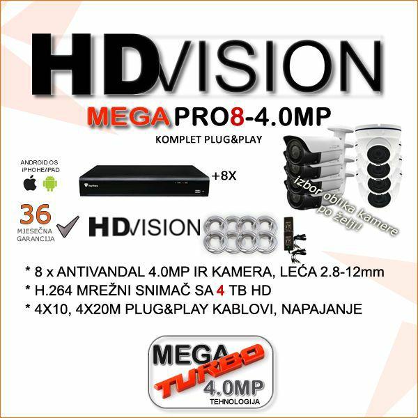 AHD KOMPLET ZA VIDEONADZOR SA OSAM 4.0 MP KAMERA 2.8-12MM