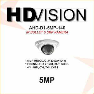 AHD-TVI DOME KAMERA 5.0MP ZA VIDEONADZOR 2.1MM
