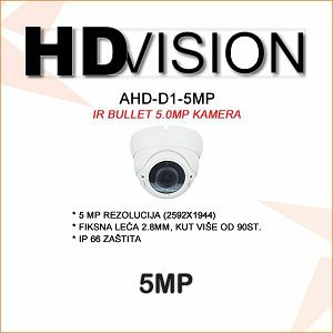 AHD-TVI DOME KAMERA 5.0MP ZA VIDEONADZOR 2.8MM