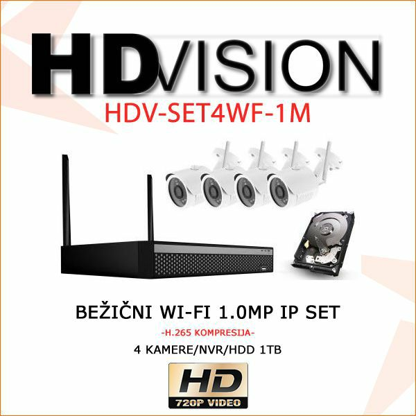 BEŽIČNI WI- FI SET KAMERA 1.0 MP-720p