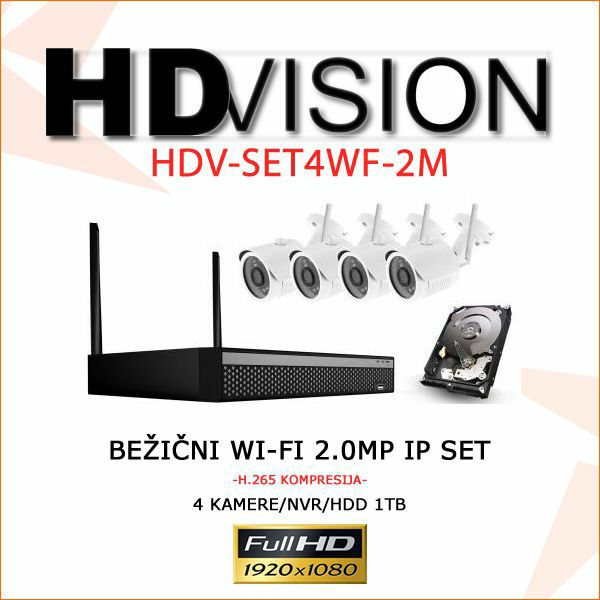 BEŽIČNI WI- FI SET KAMERA 2.0 MP-1080p