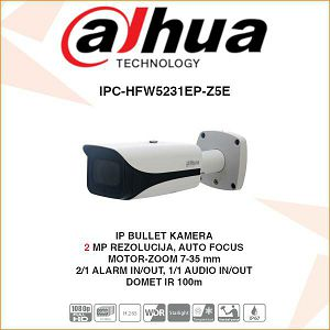 DAHUA 2MP IP BULLET MOTOR-ZOOM KAMERA ZA VIDEONADZOR IPC-HFW5231EP-Z5E