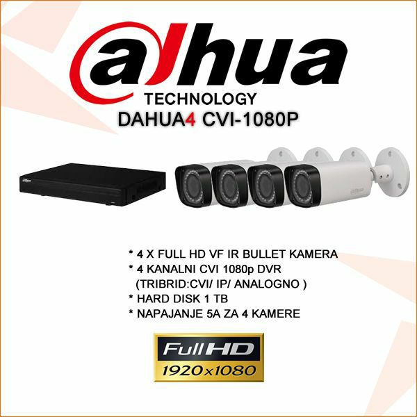 DAHUA 4 KANALNI CVI KOMPLET 1080P