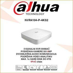 DAHUA 4 KANALNI NVR Smart 1U 4PoE 4K & H.265 SNIMAČ ZA VIDEO NADZOR NVR4104-P-4KS2
