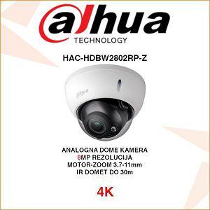 DAHUA 4K CVI DOME STRALIGHT 8MP MOTOR-ZOOM KAMERA ZA VIDEONADZOR HAC-HDBW2802RP-Z