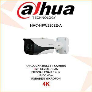 DAHUA 4K STARLIGHT CVI BULLET 8MP KAMERA ZA VIDEONADZOR HAC-HFW2802E-A
