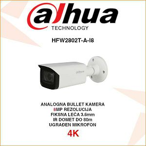 DAHUA 4K STARLIGHT CVI BULLET 8MP KAMERA ZA VIDEONADZOR HAC-HFW2802T-A-I8