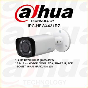 DAHUA 4MP IP BULLET KAMERA ZA VIDEO NADZOR MOTOR ZOOM