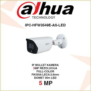DAHUA 5MP IP FULL-COLOR BULLET KAMERA ZA VIDEONADZOR IPC-HFW3549E-AS-LED