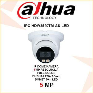 DAHUA 5MP IP FULL-COLOR DOME KAMERA ZA VIDEONADZOR IPC-HDW3549TM-AS-LED