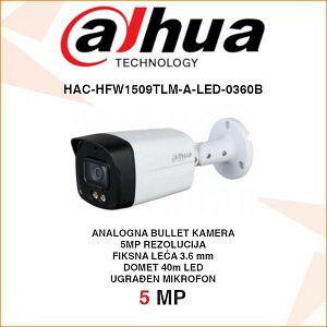 DAHUA 5MP STARLIGHT HDCVI BULLET KAMERA ZA VIDEONADZOR HAC-HFW1509TLM-A-LED-0360B