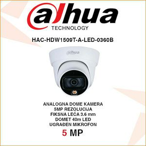 DAHUA 5MP STARLIGHT HDCVI DOME KAMERA ZA VIDEONADZOR HAC-HDW1509T-A-LED-0360B