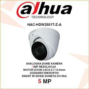 DAHUA 5MP STARLIGHT HDCVI DOME MOTOR-ZOOM KAMERA ZA VIDEONADZOR HAC-HDW2501T-Z-A
