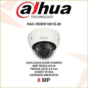 DAHUA 8MP CVI 4K DOME KAMERA ZA VIDEONAZOR HAC-HDBW1801E-28