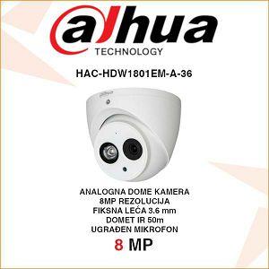 DAHUA 8MP CVI DOME KAMERA ZA VIDEONAZOR HAC-HDW1801EM-A-36