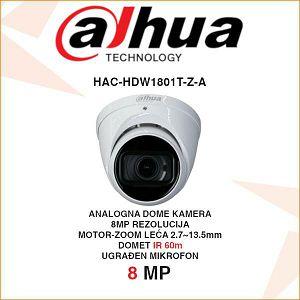 DAHUA 8MP CVI DOME MOTOR-ZOOM 4K KAMERA ZA VIDEONADZOR HAC-HDW1801T-Z-A
