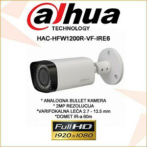 DAHUA CVI VARIFOKALNA BULLET KAMERA ZA VIDEONADZOR 2MP HAC-HFW1200R-VF-IRE6