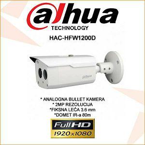 DAHUA CVI BULLET KAMERA ZA VIDEONADZOR 2MP HAC-HFW1200D
