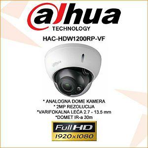 DAHUA CVI VARIFOKALNA DOME KAMERA ZA VIDEONADZOR 2MP HAC-HDW1200RP-VF