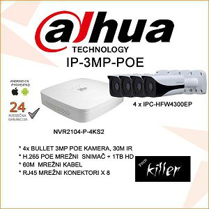 DAHUA IP POE SET SA 4 KAMERE 3MP+ NVR