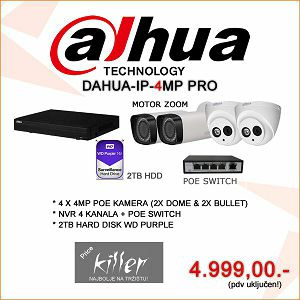 DAHUA IP POE SET SA 4 KAMERE 4MP + NVR