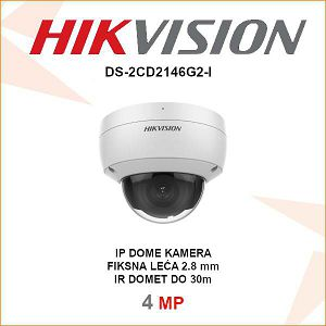 HIKVISION 4MP AcuSense IP DOME KAMERA ZA VIDEO NADZOR DS-2CD2146G2-I