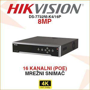 HIKVISION DIGITALNI 4K POE SNIMAČ DS-7732NI-K4/16P
