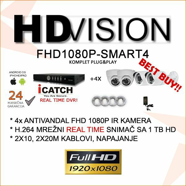FULL HD 1080P VIDEONADZOR SMART4  KOMPLET SA 4 KAMERE SONY 2.4MP