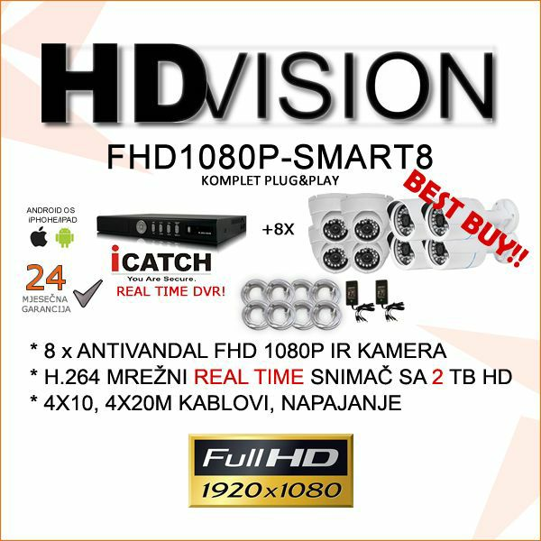 FULL HD 1080P VIDEONADZOR SMART8 KOMPLET SA 8 KAMERA  SONY 2.4MP