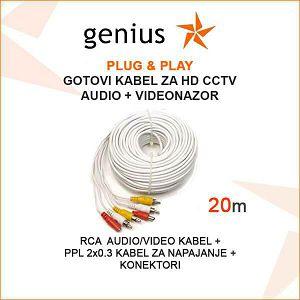 GOTOVI KABEL ZA VIDEONADZOR + AUDIO - 20M