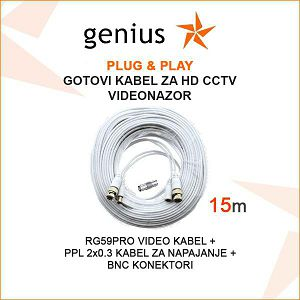 GOTOVI KABEL ZA VIDEONADZOR  PLUG&PLAY 15M