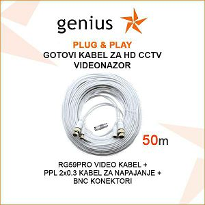 GOTOVI KABEL ZA VIDEONADZOR  PLUG&PLAY 50M