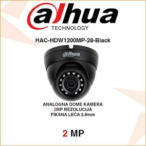 DAHUA 2MP CVI DOME KAMERA ZA VIDEONADZOR HAC-HDW1200MP-28-Black