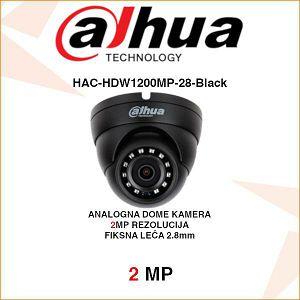 DAHUA 2MP CVI DOME KAMERA ZA VIDEONADZOR HAC-HDW1200MP-28-Black