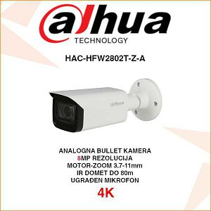 DAHUA 4K STARLIGHT CVI BULLET 8MP MOTOR-ZOOM KAMERA ZA VIDEONADZOR HAC-HFW2802T-Z-A