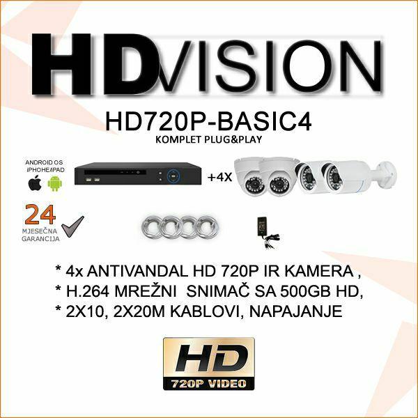 HD VIDEONADZOR KOMPLET BASIC PLUG&PLAY SA 4 KAMERE